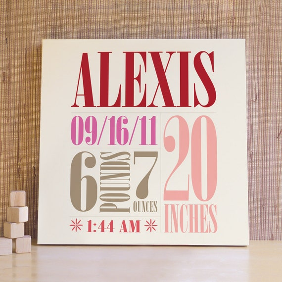 Personalized Nursery Art, Decor for Baby Nursery, Kids and Children Rooms. 20x20 Custom Birth Canvas - Red/Strawberry