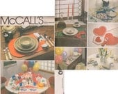 Vintage UNCUT sewing pattern holiday birthday seasonal table runners placemats napkins McCall's 8130