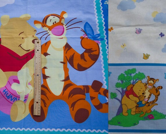 Winnie the Pooh and Tigger crib quilt panel and curtain panel in blues Fabric Yardage