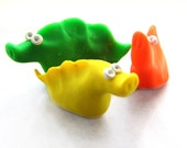 Three Snouted Slugs - Set of Original Handmade Polymer Clay Creatures