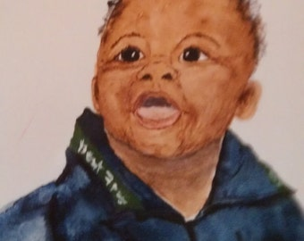 NOT for sale.      Benjamin 8x10 watercolor painting of your child.  Louisiana made ooak SAMPLE