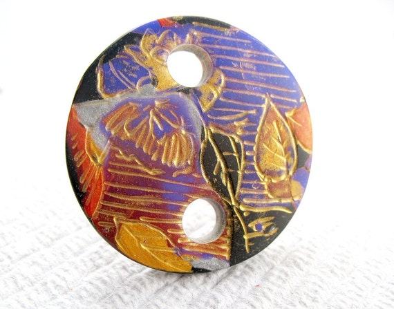 Gilded Flora Polymer Clay Disk