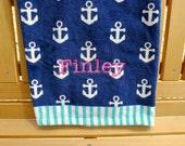 Personalized Anchor Print Beach/Bath Towel - Large (32x62)