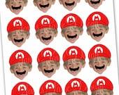 Super Mario Bros Inspired Photo Cupcake Toppers Digital File - Mario and Luigi