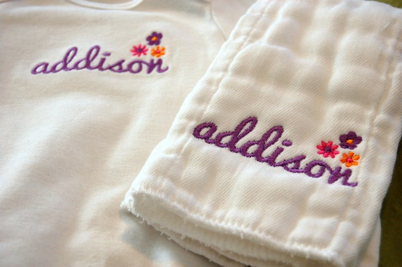 Embroidered Name and Flowers Personalized Onesie and Burp Cloth - Long sleeve or Short Sleeve Onesie Available