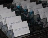 Classic Elegant White and Blue Script Escort Cards