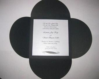 Black and White Classic Envelofold with Swarovski Crystal