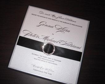 Fancy Black,Silver n White Metallic Layered INVITATION SET w/ Rhinestone Buckle and Satin Ribbon. Invitation, rsvp & envelopes