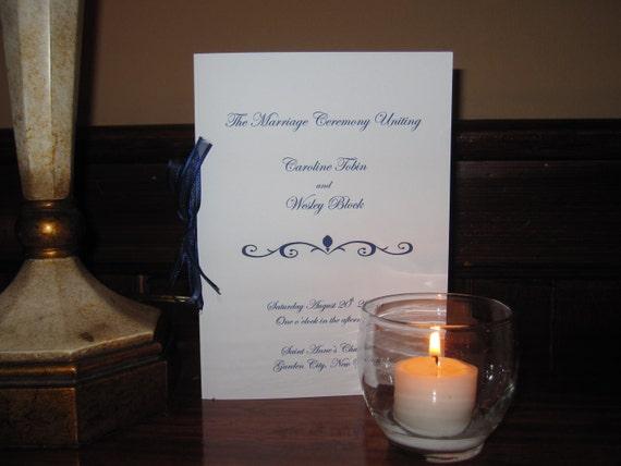 Blue and White Custom Wedding Program with matching ribbon