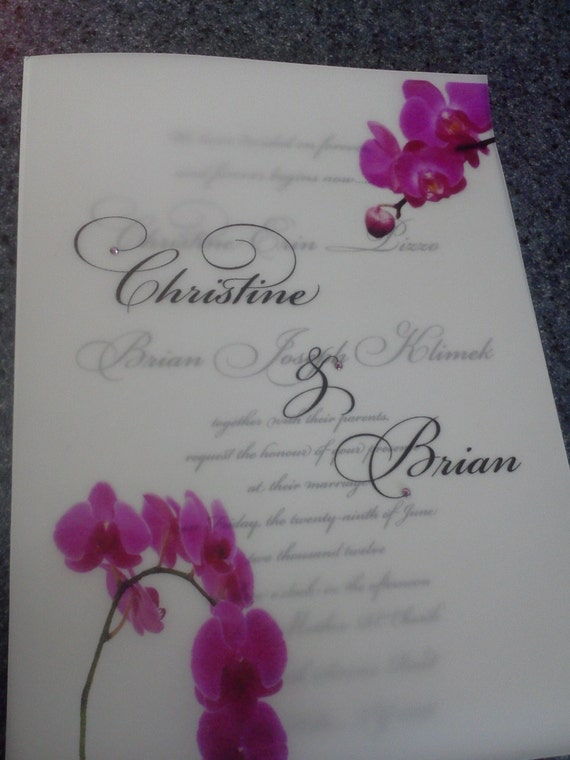 Flat Layered 7x5 White and Vellum Wedding Invitation with Pink ribbon, pink miniature swarovski crystals and Pocket on back