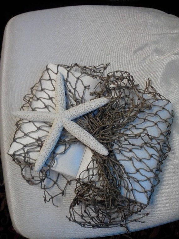 BEACH THEME Beautiful Ivory Satin Invitation Box with Tan Netting and Starfish, sand paper, & Invitation Mailing Box