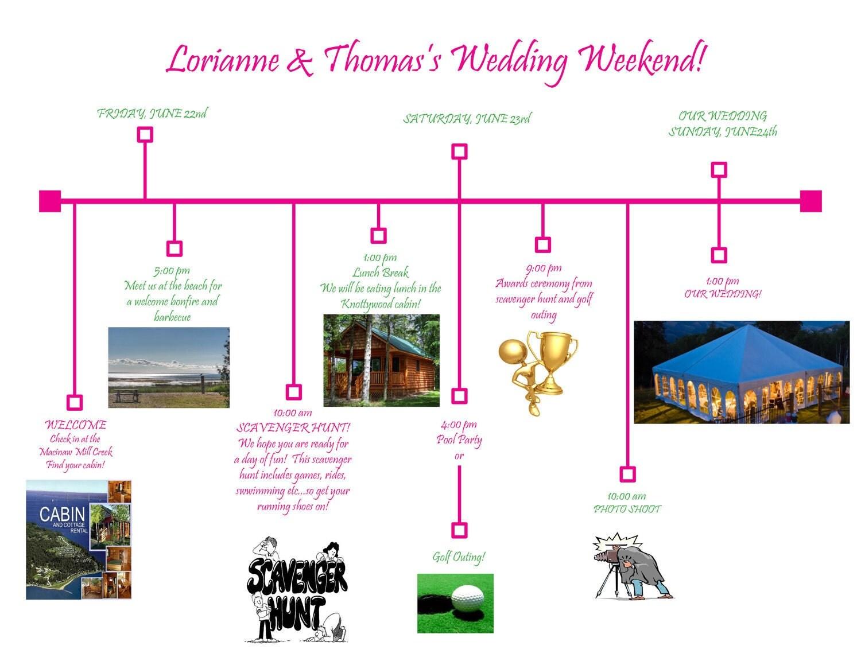 Printable Diy Wedding Weekend Timeline For Guests