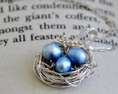 Sterling Silver Birds Nest Necklace With Freshwater Pearls