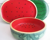 Vintage Watermelon Trays and Bowl