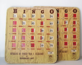 Vintage Bingo Cards with Sliding Windows