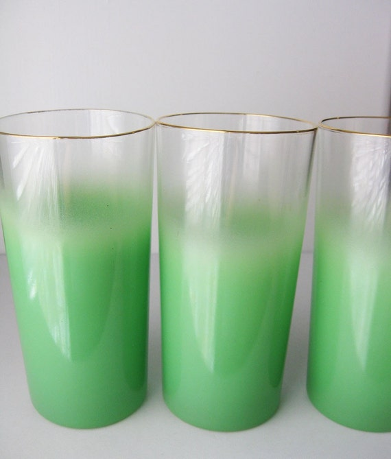 Green Frosted Cocktail Glasses