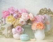 Rose Flower Photography, Romantic Roses Fine Art Photograph, Shabby Vintage Wall Decor, Large Wall Art