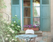 French Country Photography - Blue Bistro Table, Chairs, Shutters, Cottage Window, Giverny, France, Wall Decor
