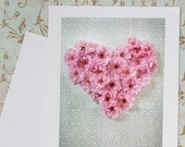 Plum Blossom Heart Fine Art Photo Notecard - Romantic Pink Heart Photo Greeting Card