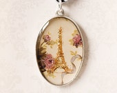 Reserved for Leslie, Paris Oval Photo Pendant - Glitter Eiffel Tower and Roses in Antiqued Silver Charm