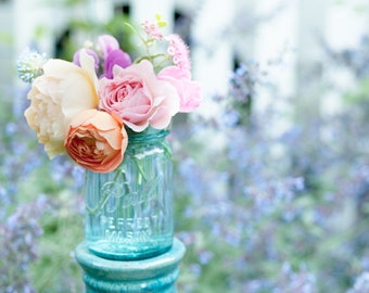 Summer Garden Fine Art Photograph, Feminine, Romantic Home Decor, Pink Roses, Large Wall Art