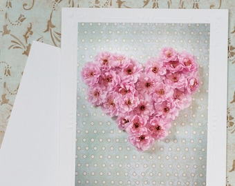 Plum Blossom Heart Fine Art Photo Notecard - Romantic Pink Heart Photo Greeting Card