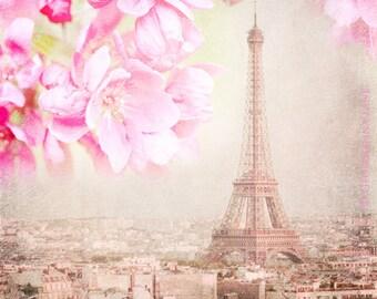 Paris Photograph - Paris Spring Pink -  Eiffel Tower with Cherry Blossoms, Urban Home Decor, Wall Art