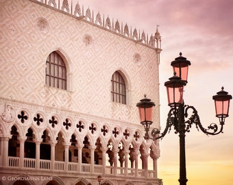 Venice Photography - Sunrise in Piazza San Marco, Venice, Italy, Lamp Post, Home Decor, Travel Photo, Wall Art