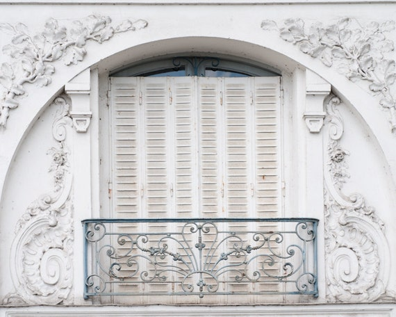 Paris Photo -  White Shutters and Balcony, French Country, 16 x 20 Fine Art Travel Photograph, Home Decor, Wall Art