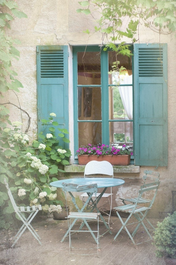 French country photography blue bistro table chairs for Country shutters