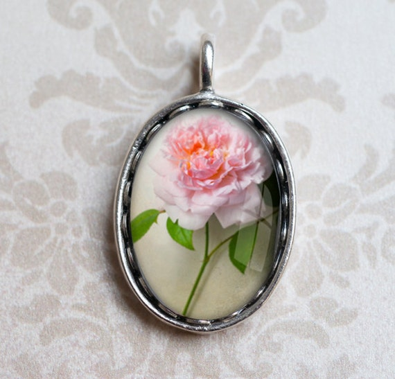 Rose Photo Pendant - Valentines Day, Romantic Wearable Art - Floral Jewelry - Antique Silver Photo Charm, Gift