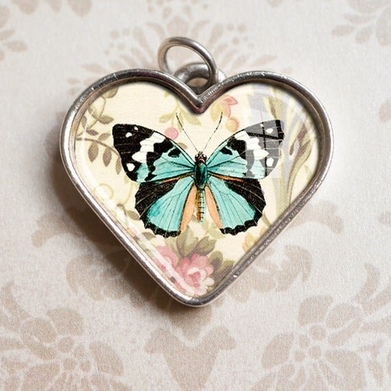 Teal Butterfly Heart Pendant - Valentines Day, Heart Jewelry, Antiqued Silver Resin Heart Charm