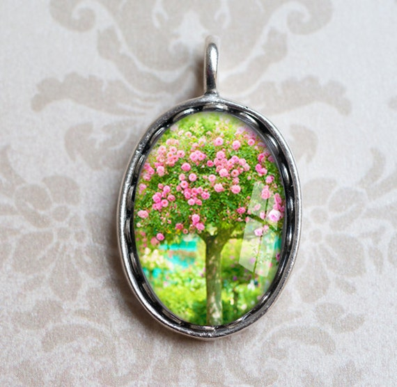 Rose Tree Photo Pendant - Mothers Day, Monet's Garden Wearable Art  - Floral Photograph in Silver Jewelry Charm