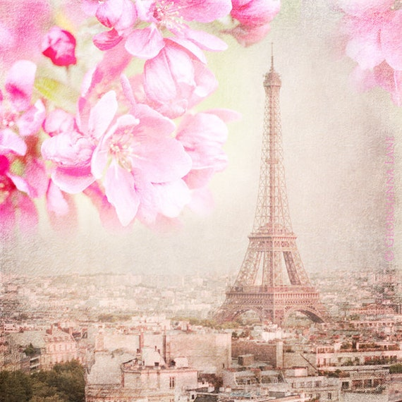 Paris Photograph - Paris Spring Pink -  Eiffel Tower with Cherry Blossoms, Urban Home Decor, Wall Art