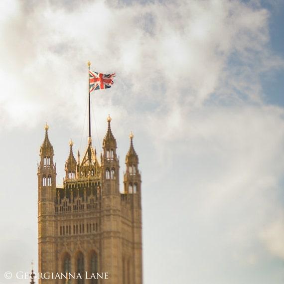 London Photo  - The Union Jack, Big Ben, England Travel Photo, Home Decor, Affordable Wall Art