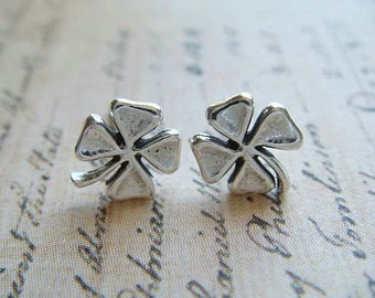 Four Leaf Clovers - Sterling Silver Post Earrings