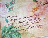 MY PRAYER COLLAGE --- 8 X 10 Hand Written Calligraphy Art Print