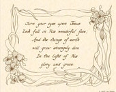 TURN YOUR EYES Upon Jesus - Custom Christian Calligraphy Wall Art Print Christian Home Decor VintageVerses Natural Parchment Sepia Brown