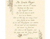 THE LORD'S Prayer, Matthew 6:9-13 --- 11 X 14 Calligraphy Art Print on Parchment