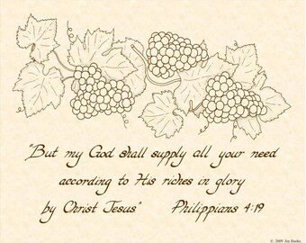 PHILIPPIANS 4:19 --- 8 X 10 Hand Written Calligraphy Art Print On Parchment