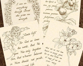 SALE --- 4 FOR 15 DOLLARS  --- Any 5 x 7 Hand Written Calligraphy Art Prints on Natural Parchment in Sepia Brown Ink
