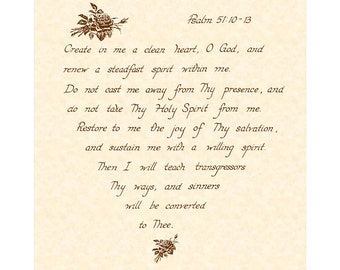 PSALM 51:10-13 - Custom Christion Home Decor - Wall Art - Hand Written Calligraphy - inspirational Wall Art - Natural Parchment Sepia Brown