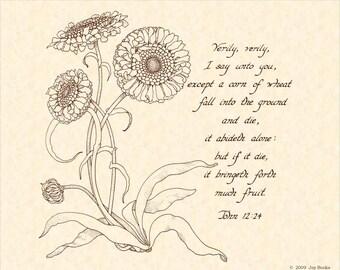 JOHN 12:14 --- 8 X 10 Calligraphy Art Print