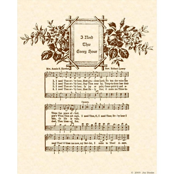 Annie S Song Fly Away: I NEED THEE Every Hour 8 X 10 Antique Hymn Art By