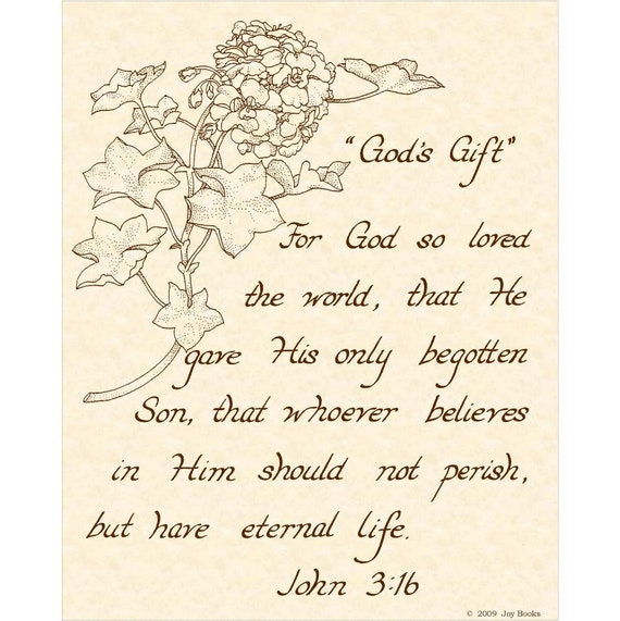 Items Similar To John 3 16 8 X 10 Calligraphy Art