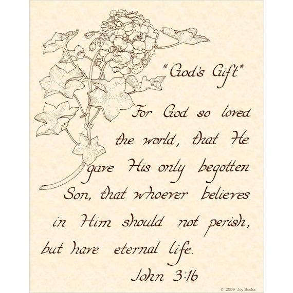 JOHN 3:16 --- (Pay It Forward) 8 X 10 Calligraphy Art Print