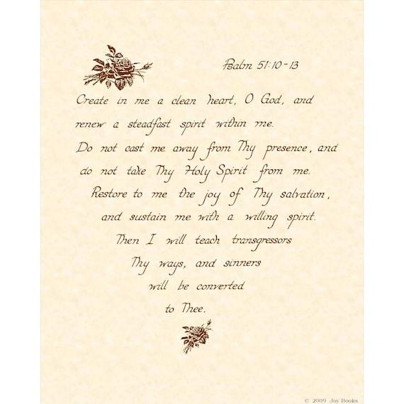 PSALM 51:10-13 - Custom Christion Home Decor - Wall Art - Hand Written Calligraphy - inspirational Wall Art - Natural Parchment Sepia Brown