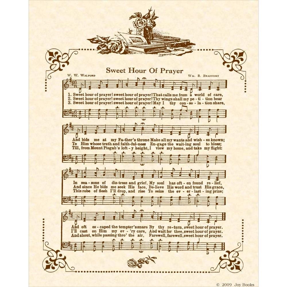Sweet Hour Of Prayer 8 X 10 Antique Hymn Art By Vintageverses