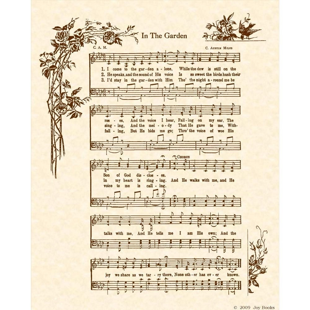 In The Garden 8 X 10 Antique Hymn Art Print On By