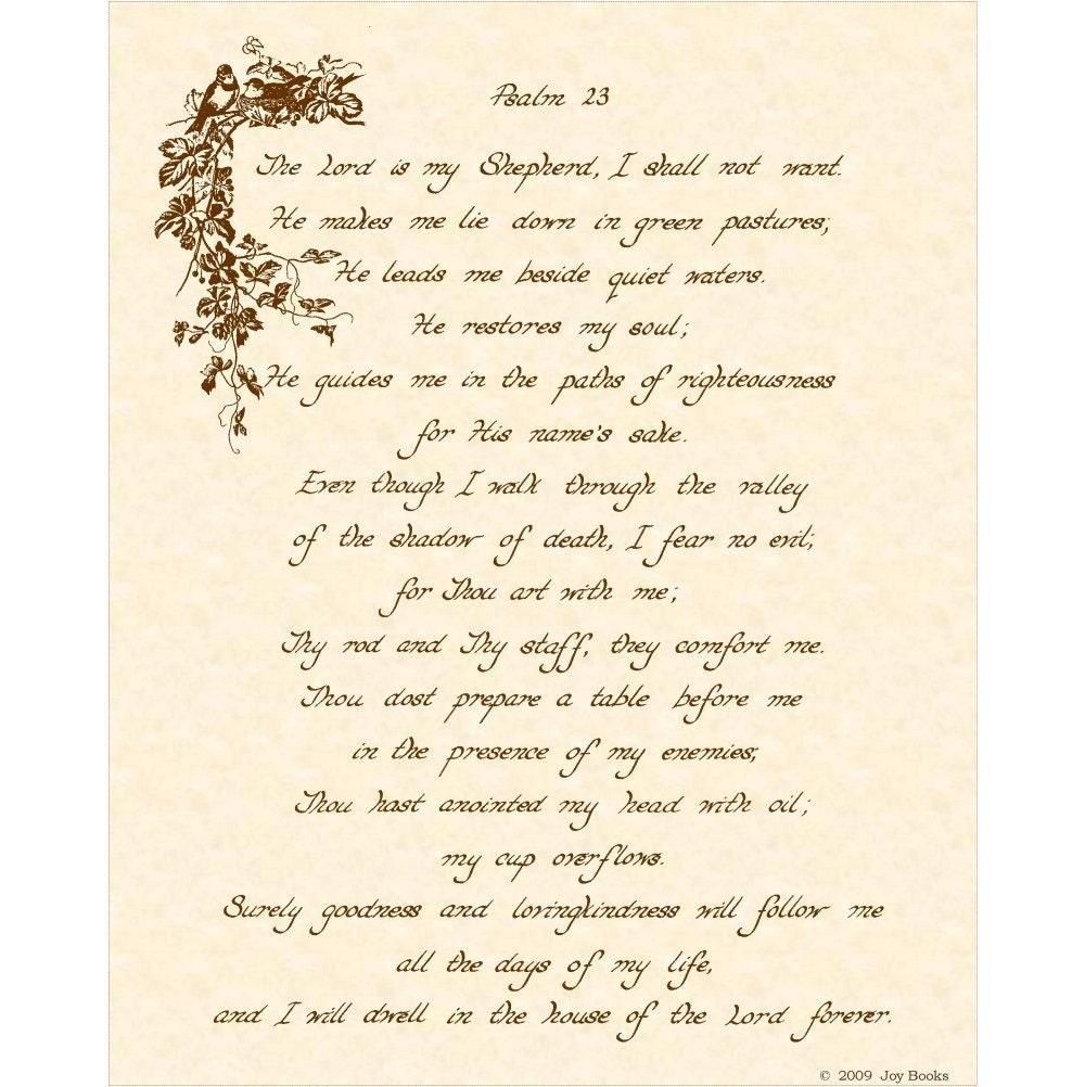 Psalm 23 8x10 Hand Written Calligraphy Art Print By